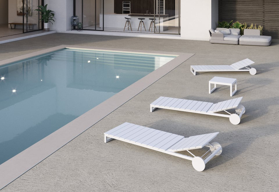 bordo piscina in cemento spatolato