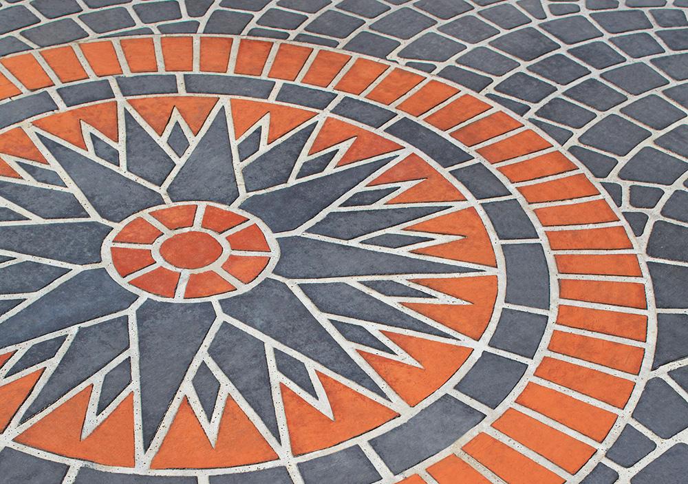 pavimento in cemento stenciltop colorato